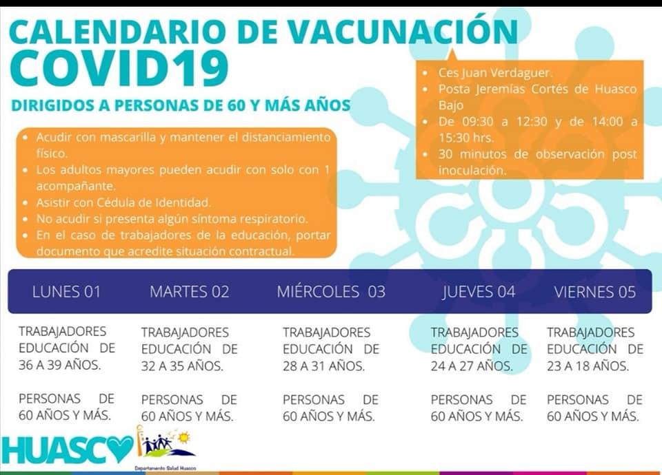 Calendario de Vacunación contra el Covid-19 +60 años